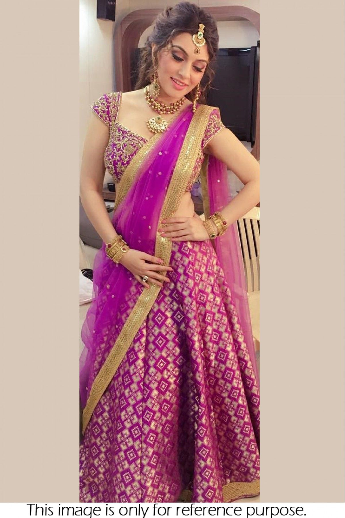 afe00acfe Pink Colour Brocade Georgette Fabric Party Wear Lehenga Choli Comes with  matching blouse. This Lehenga Choli Is crafted with Embroidery This Lehenga  Choli ...
