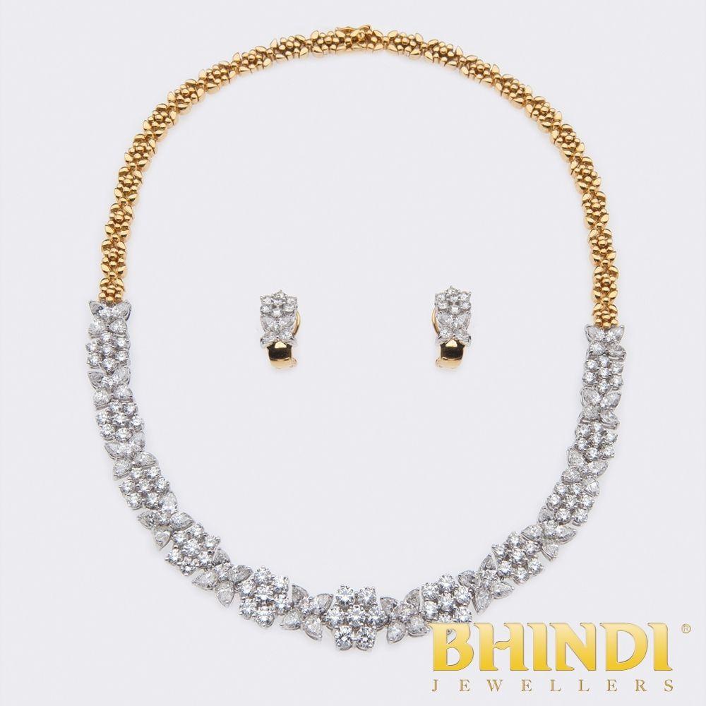 K two tone gold diamond necklace set product details bhindi