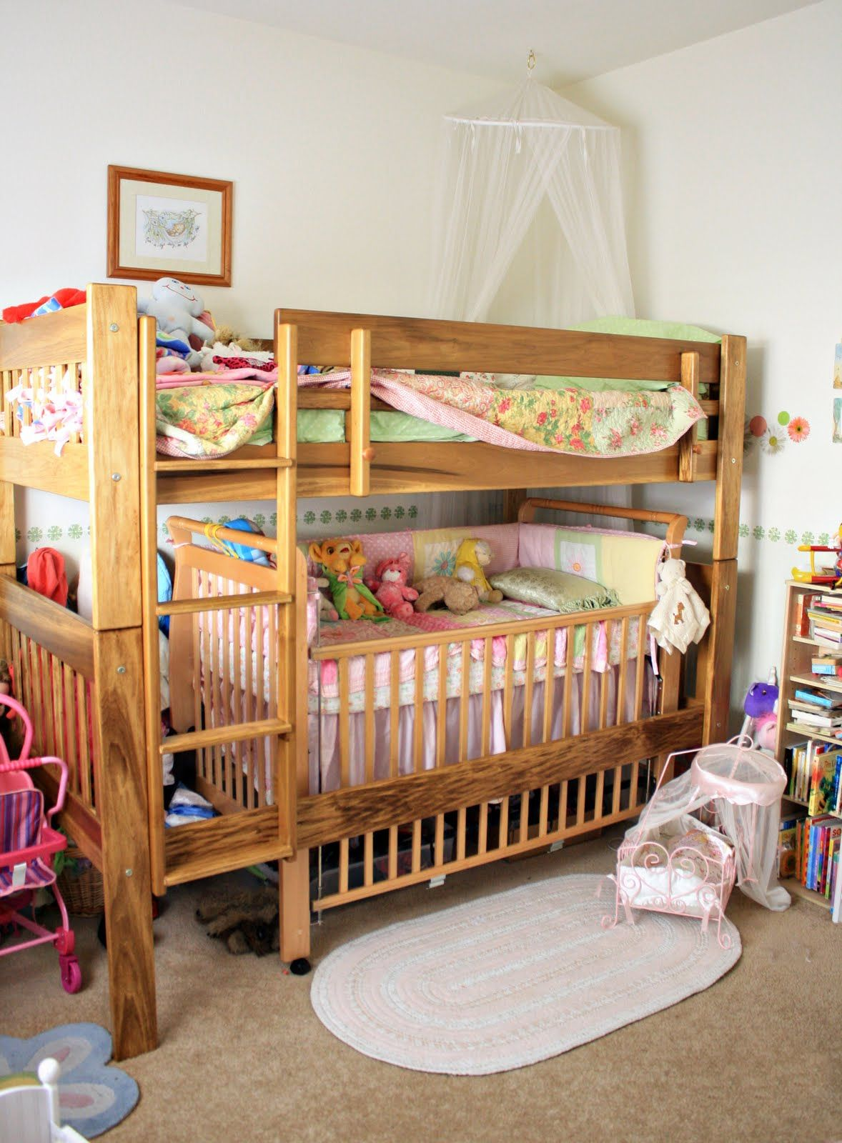 Bunk bed crib google search my girls room pinterest for Toddler bunk beds