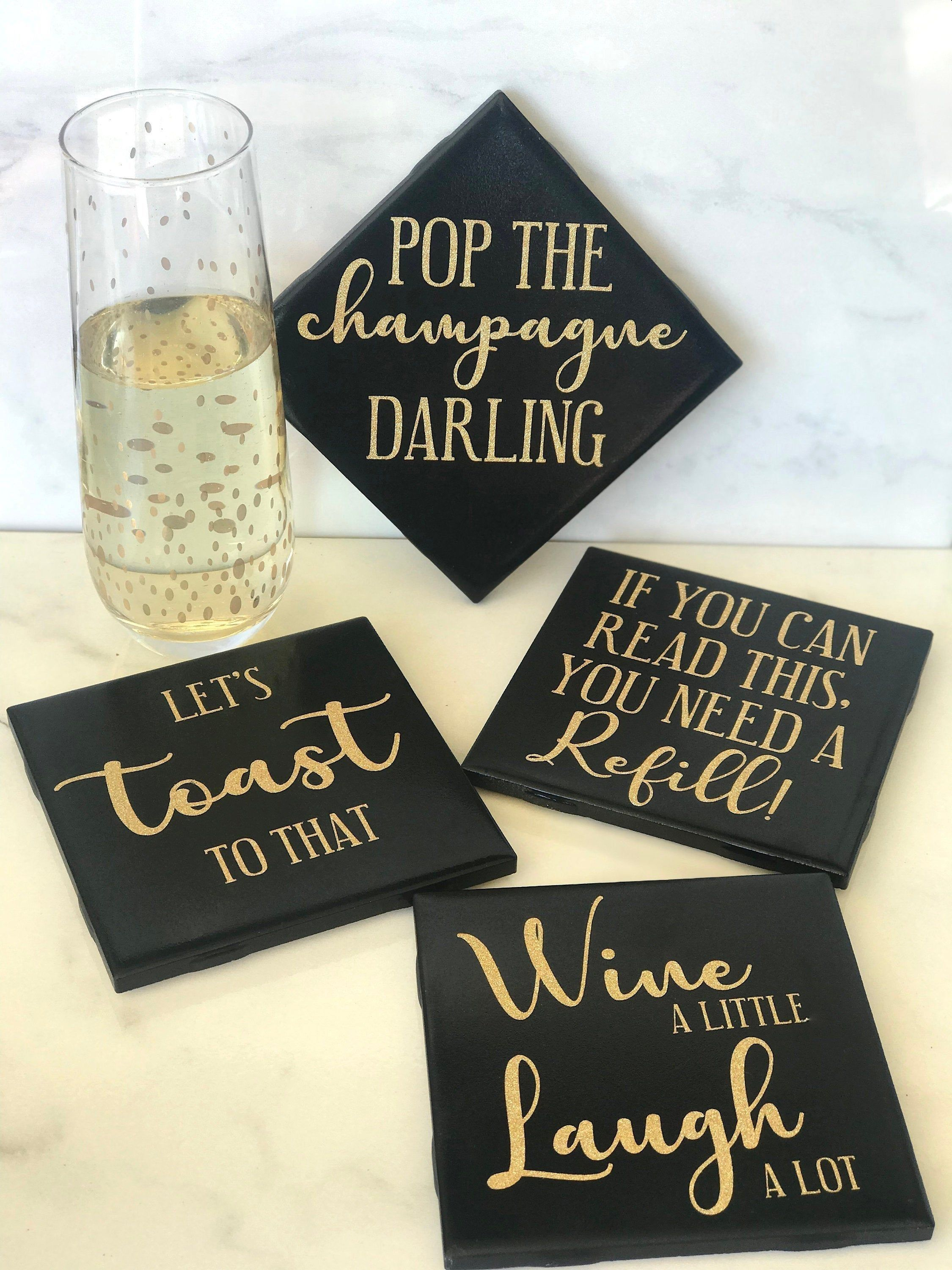 Classy Funny Wine Champagne Party Coasters Set Of 4 Diy Coasters Tile Coaster Crafts Diy Coasters