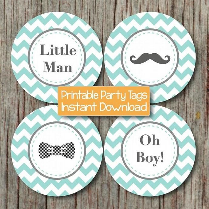 Perfect Little Man Bow Tie Mustache Baby Shower Oh Boy Cupcake Toppers Printable  Favor Tags Digital Diy Light Teal Grey Chevron 160