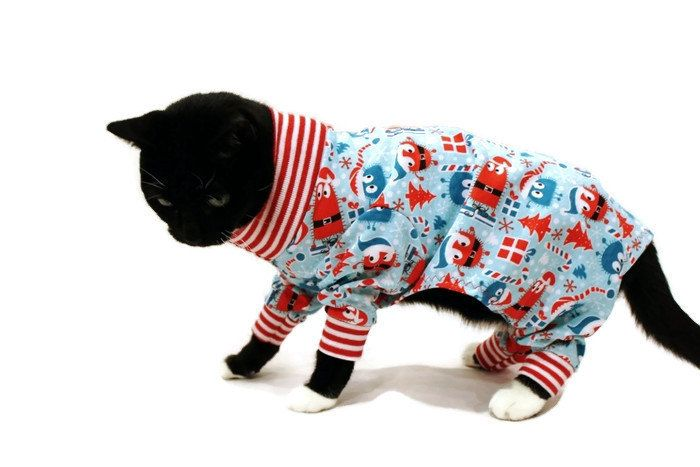 ooga booga christmas cat pajamas cat clothes cat clothing cat onesie cat apparel pet clothes by rockindogscoolcats on etsy