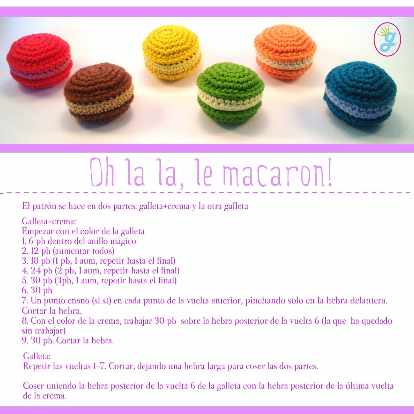 la ganchillería: patrón de macarons | Amigurumi and motifs ...