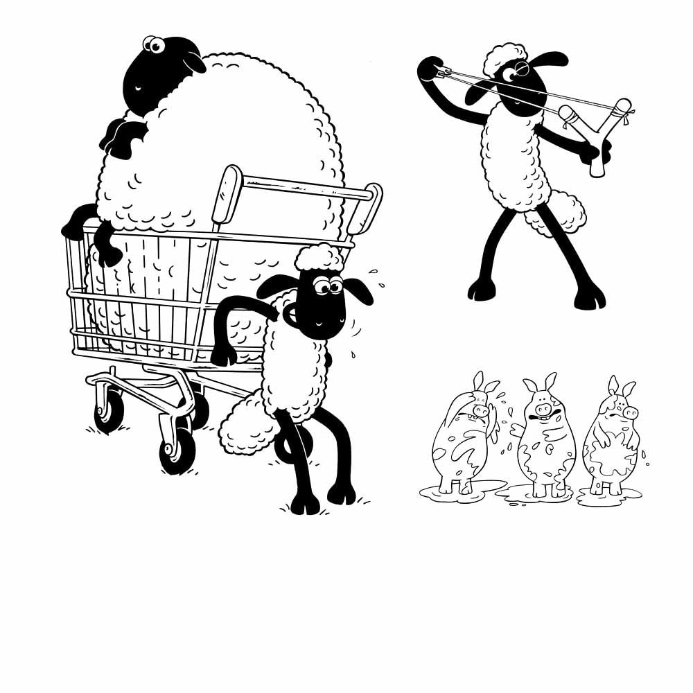 shaun the sheep coloring pages activity kids | Digital ClipArt ...