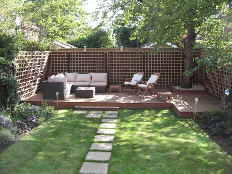 Decoration Amazing Urban Garden Decorating Ideas For Backyard With Grass Area And Block Concrete Walkway