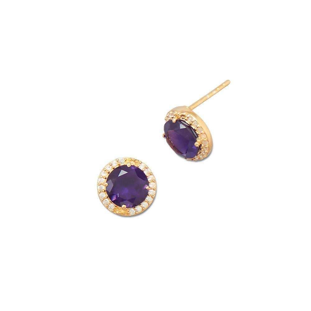 14K Gold Plated Amethyst Stud Earrings with CZ Edge