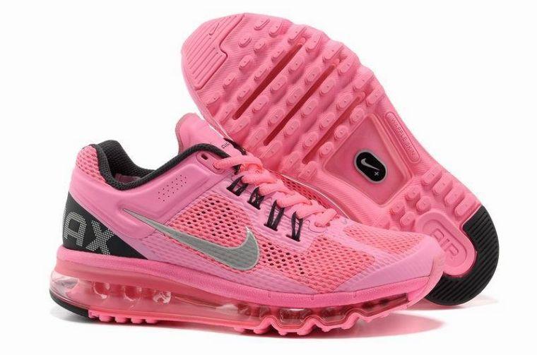 nike air max 2013 signore scarpette rosa nero correre d'argento
