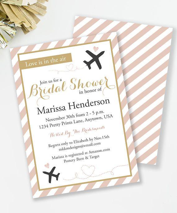 Travel Bridal Shower Invite Love Is In The Air Destination Wedding Blush An