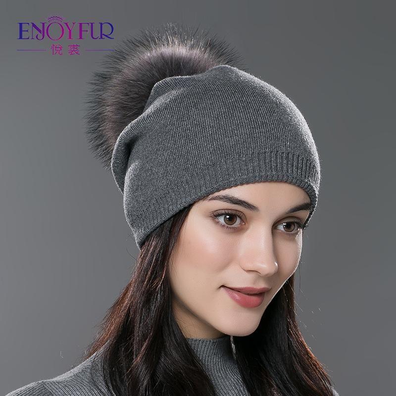 c5af1547f51 ENJOYFUR Winter women real fur pom pom hats wool knitted thick warm lined  beanies hat lady
