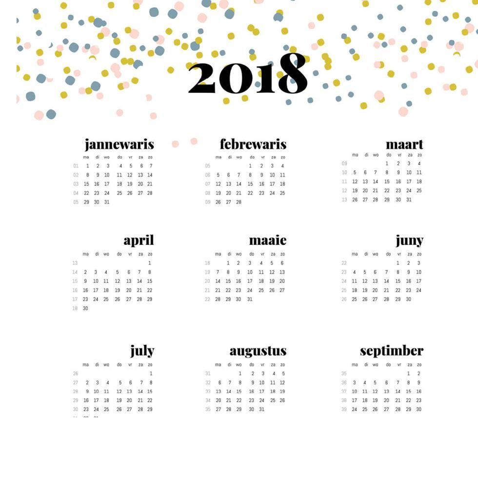 Super Handig Deze Friese Kalender 2018 Ook In Het Nederlands Gratis Printable Jaarkalender 2018 Nieuwjaar Kalender