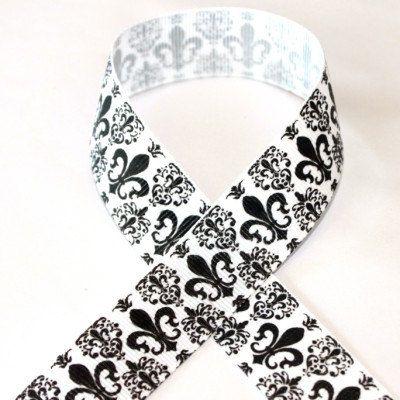 7/8 Black with White Damask Grosgrain Ribbon 3 by AllAboutRibbon, $2.49