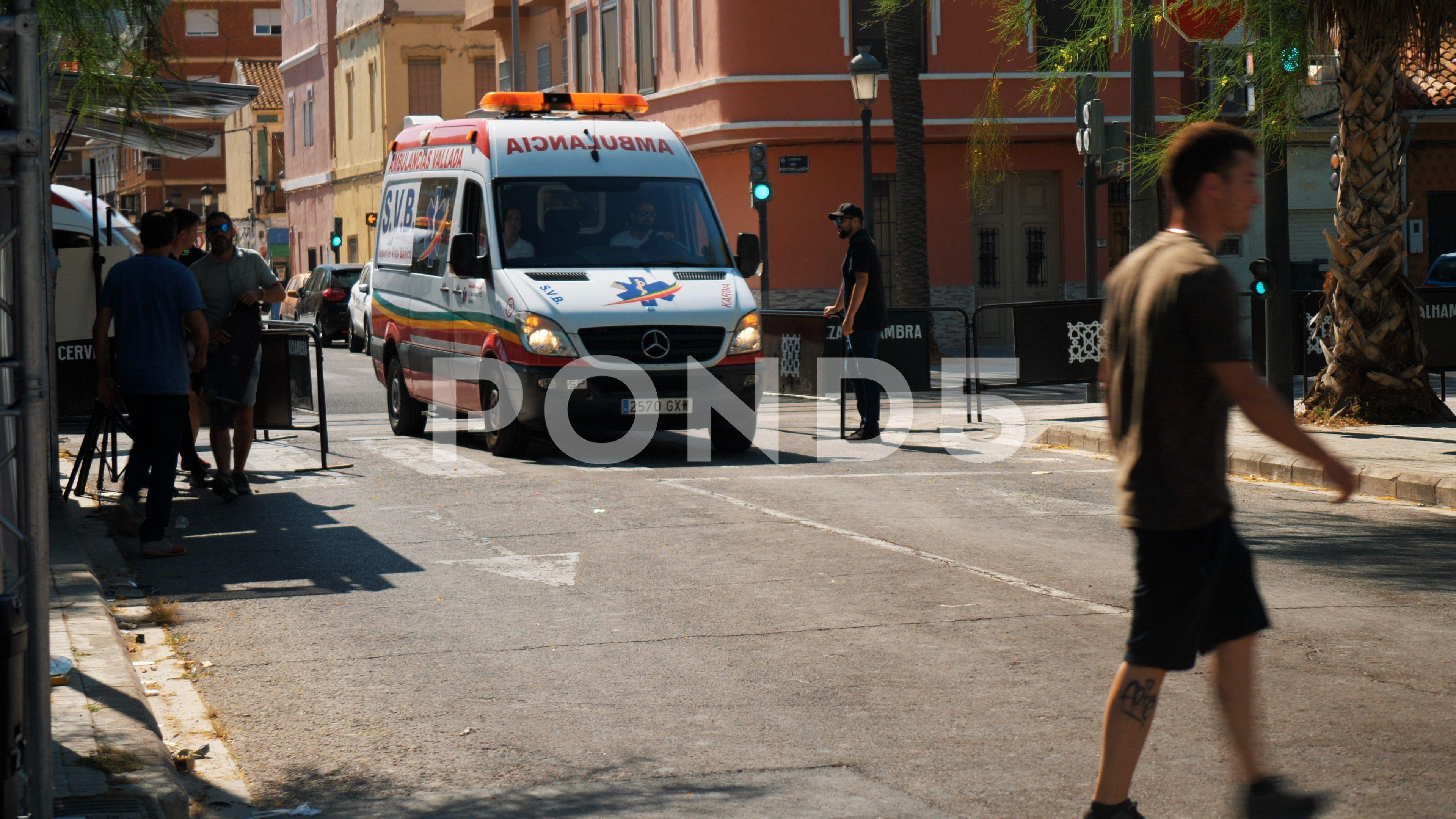 Ambulances arriving at event venue to provide medical