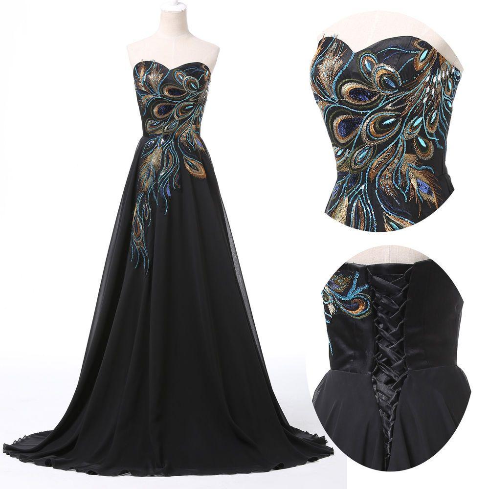 Vintage peacock style masquerade ball gown bridesmaid party maxi