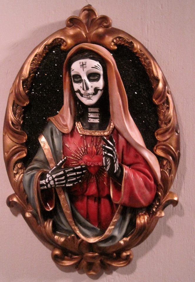 Santa Muerte  Skull Painting, Art, Day Of The Dead Art-6359