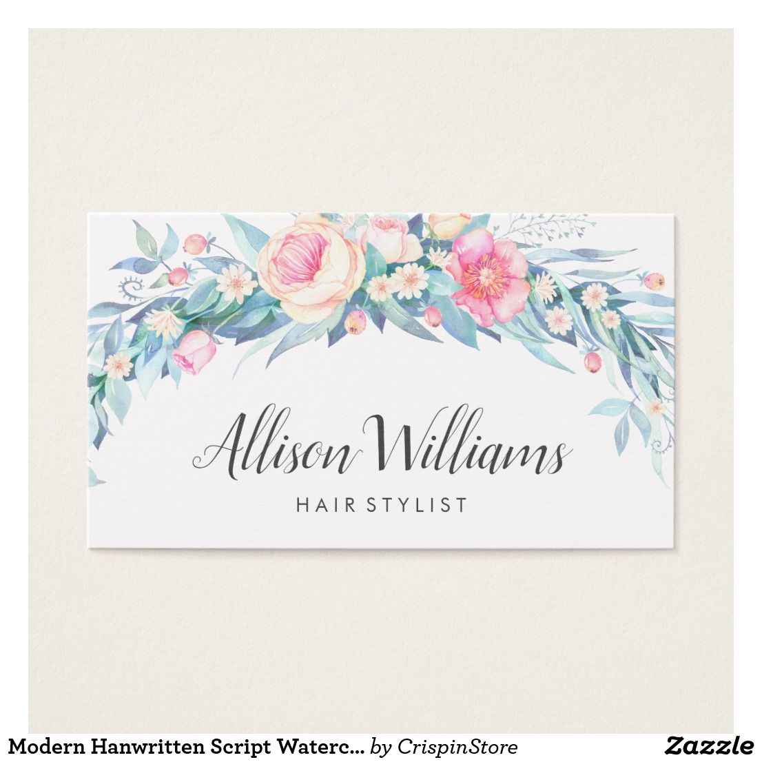 Modern Handwritten Script Watercolor Floral Business Card | Business ...