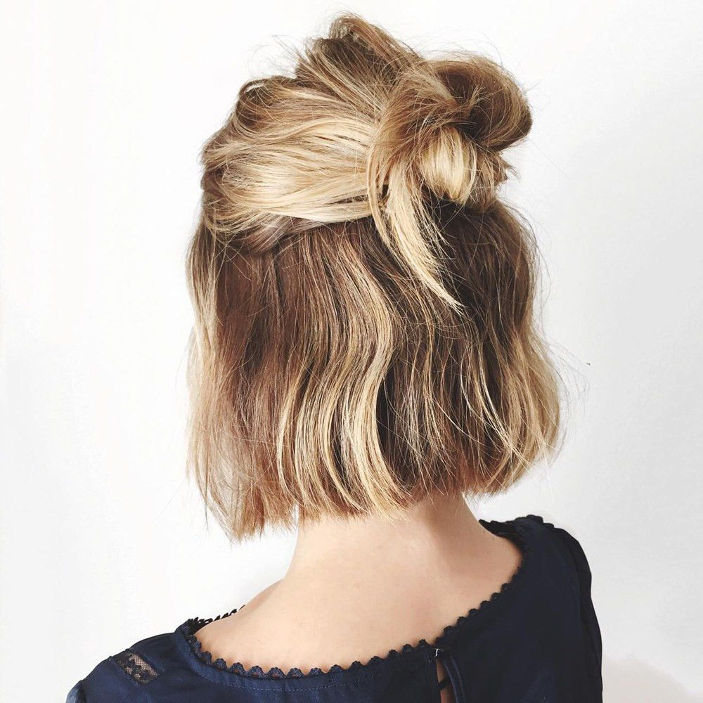 Diy cute and lazy top knot diy hairstyles pinterest s mullet