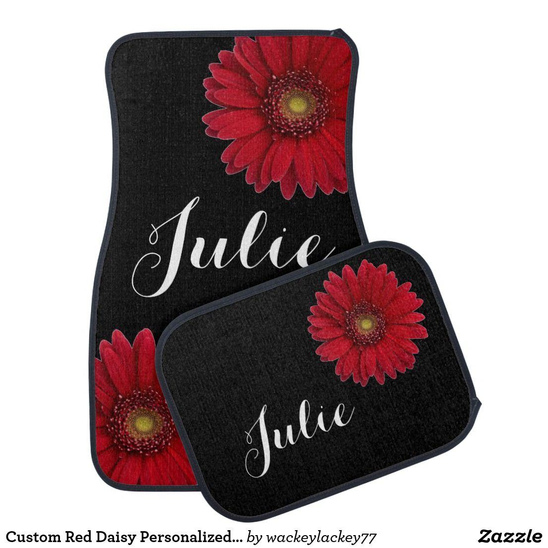 Custom Red Daisy Personalized Name Car Floor Mats Zazzle