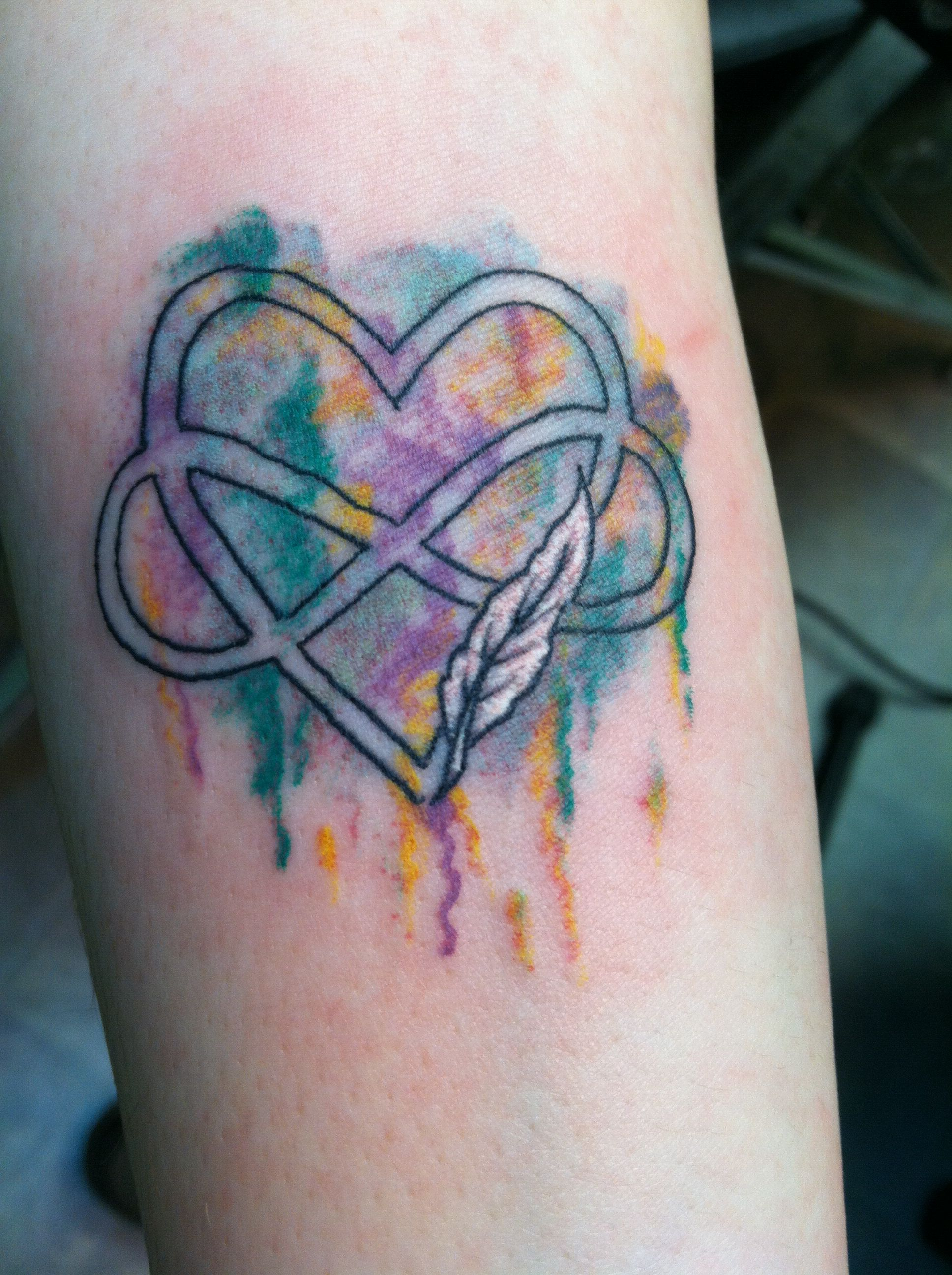 Heart And Infinity Symbol With Watercolor Background Tats
