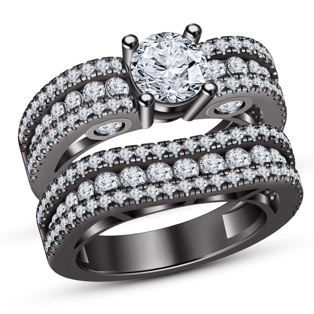 925 Sterling Silver Diamond Women/'s Bridal Set Engagement /& Wedding Ring 14K Black Gold Over