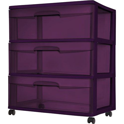 Sterilite 3 Drawer Wide Cart Purple Pearl Tint Dimensions 15 25