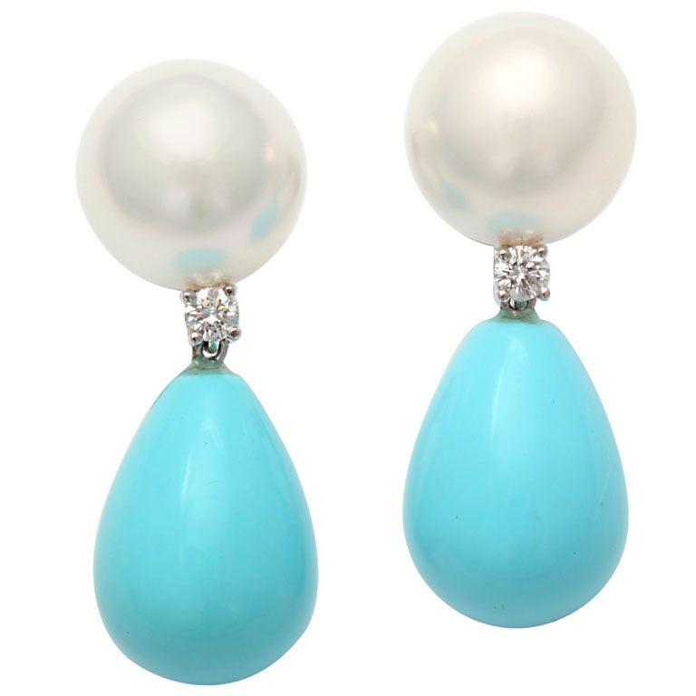 Pearl, Diamond and Turquoise drop earrings | Pearl diamond ...