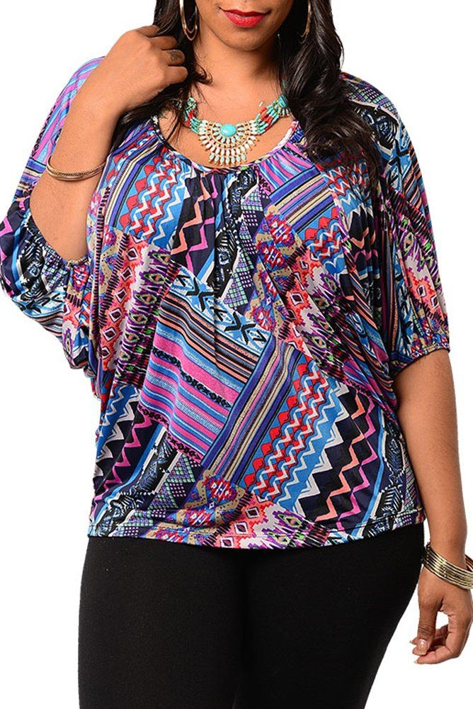 62f974c9f72 DHStyles Women s Plus Size Trendy Slinky Unique Abstract Print Top-3X -  Purple