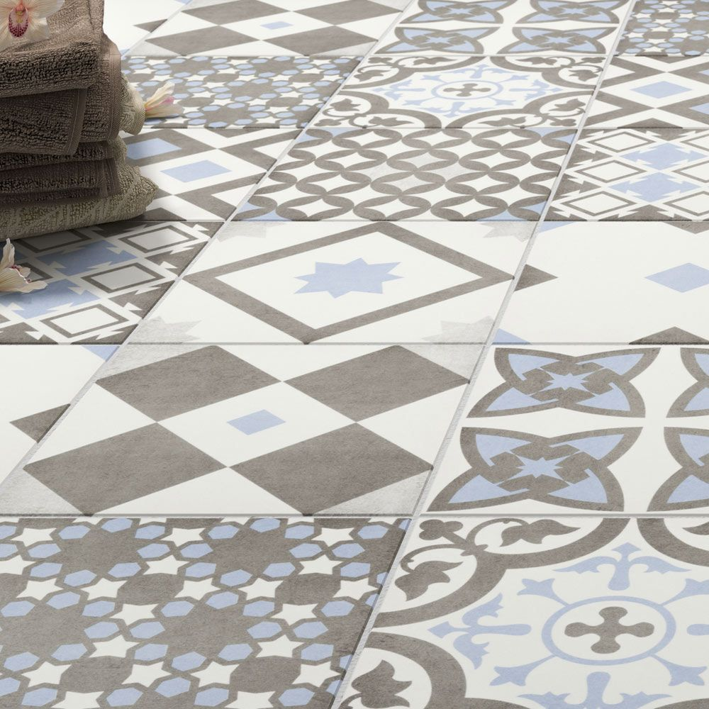 Vibe Light Blue Patterned Wall and Floor Tiles - 223 x 223mm ...