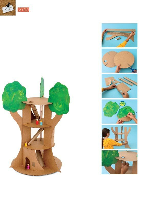 Make A Treehouse Out Of Cardboard Xmas Craft Ideas Pinterest