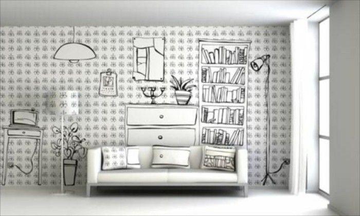 Kreative Moderne Wohnzimmer Wandgestaltung Regale An Der Wand