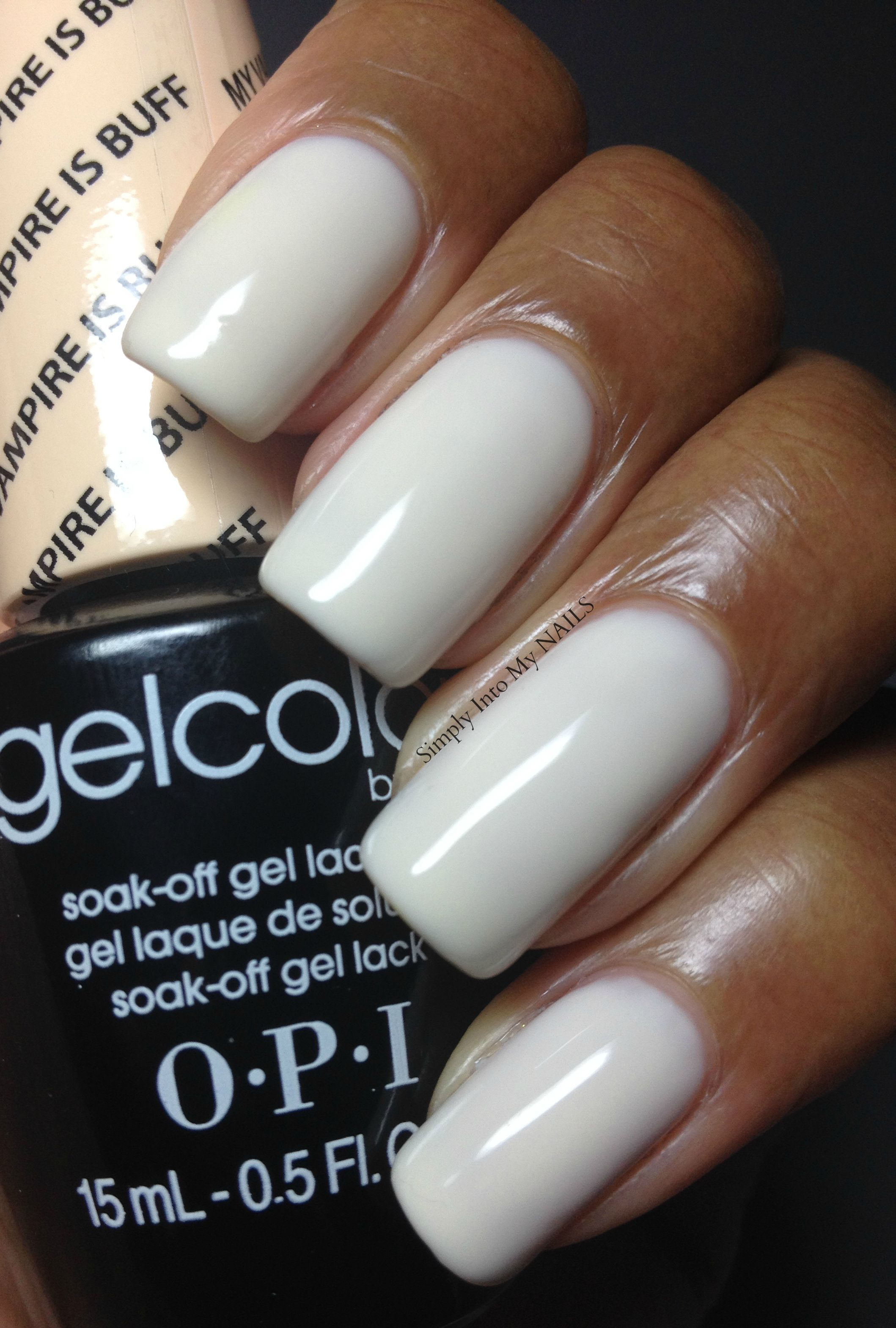 Opi Gelcolor My Vampire Is Buff If Wearing White Your Nail Tech Better Be Amazing Otherwise It Looks And Out Like These Nails Are Perfect
