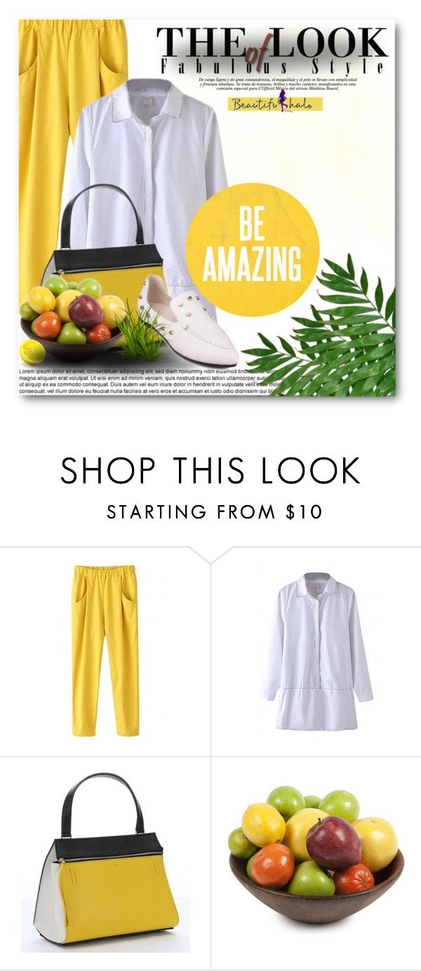 """""""Beautifulhalo"""" by din-fashion ❤ liked on Polyvore featuring CÉLINE and Dot & Bo"""
