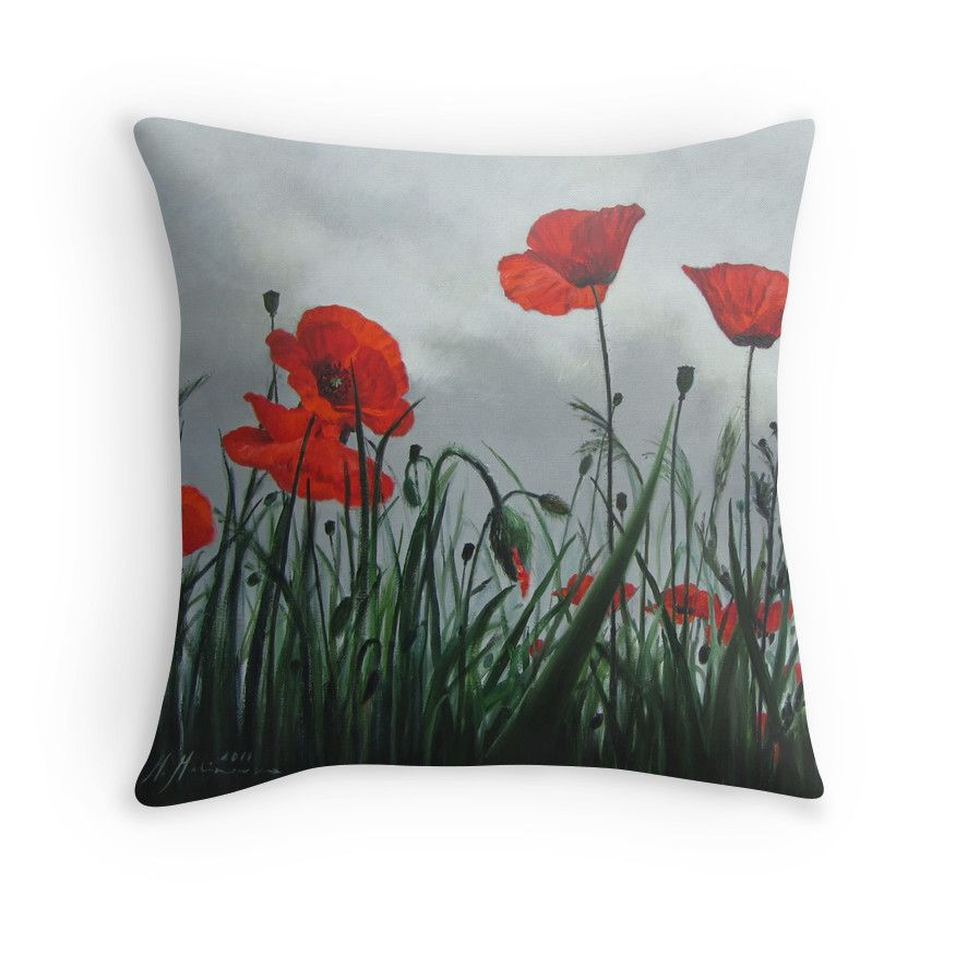 Red Poppies painting  on your throw pillow. Check out other products with this motif on Redbubble.com