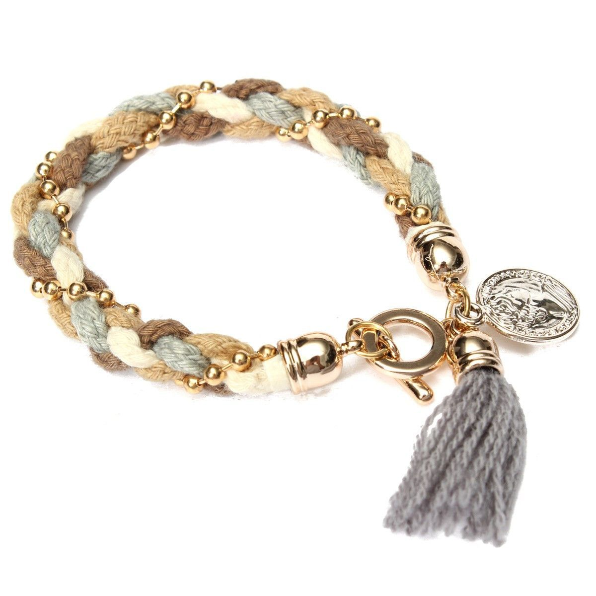 Beads tassels braided rope pendant bracelets products pinterest