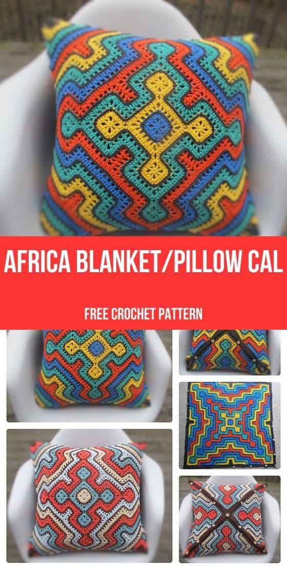 Africa Blanket/Pillow CAL Free Crochet Pattern – Daily Crochet Patterns