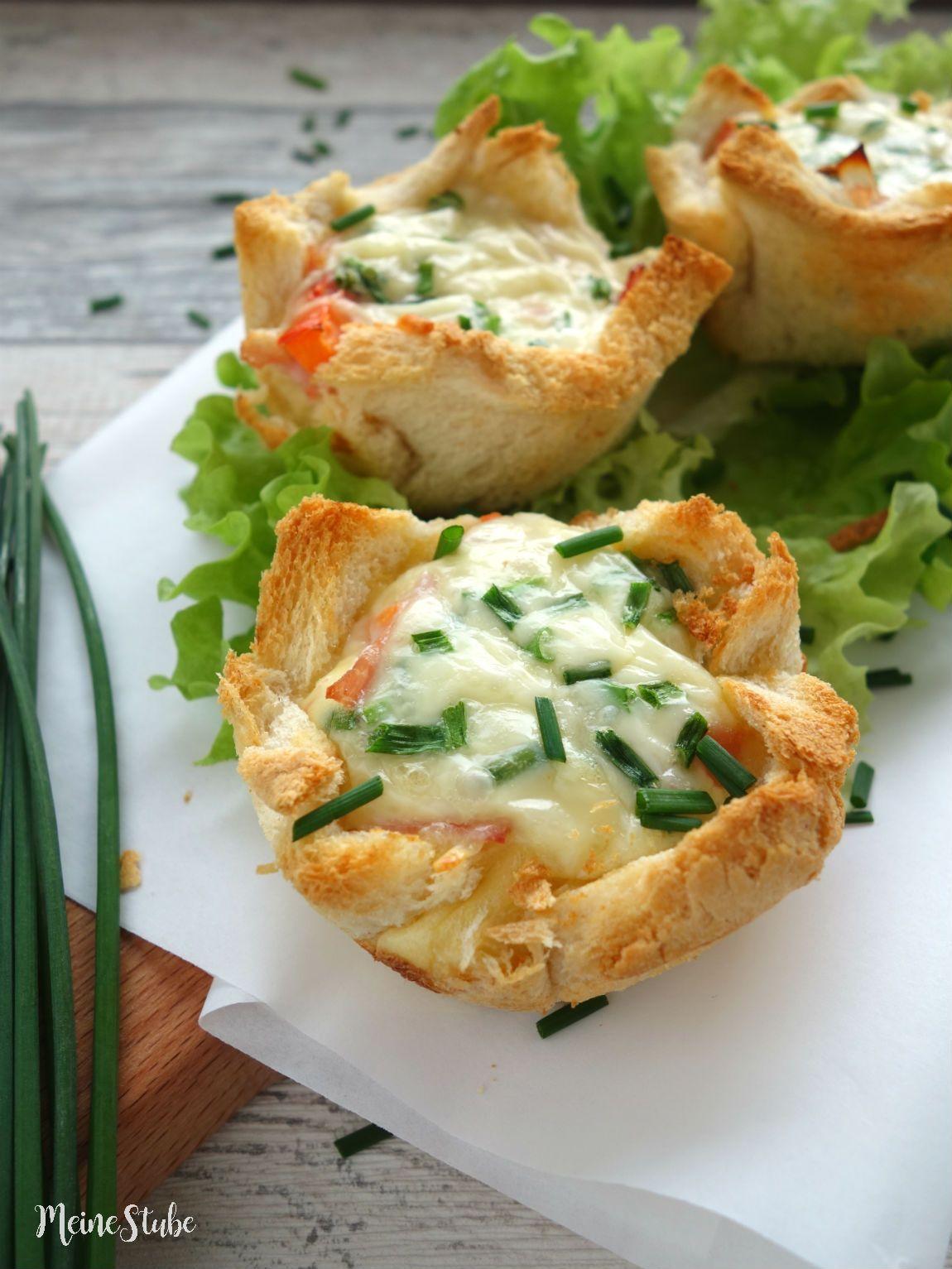 Toast-Törtchen mit Schinken, Tomaten und Käse #schnellepartyrezepte