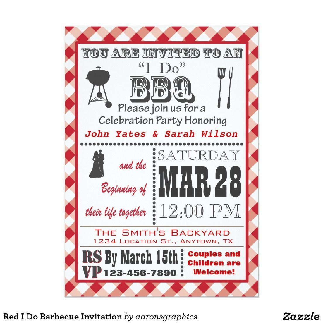 Red I Do Barbecue Invitation 5\