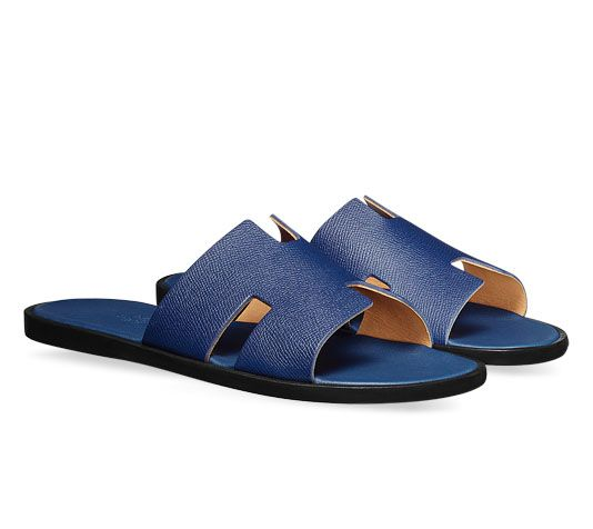 Izmir Hermes men's sandal in Epsom calfskin with leather sole and sapphire  blue lining
