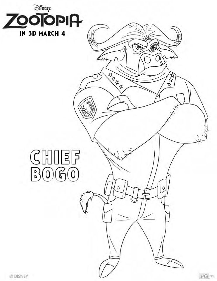 zootopia coloring pages chief bogo printable - Coloring Pg