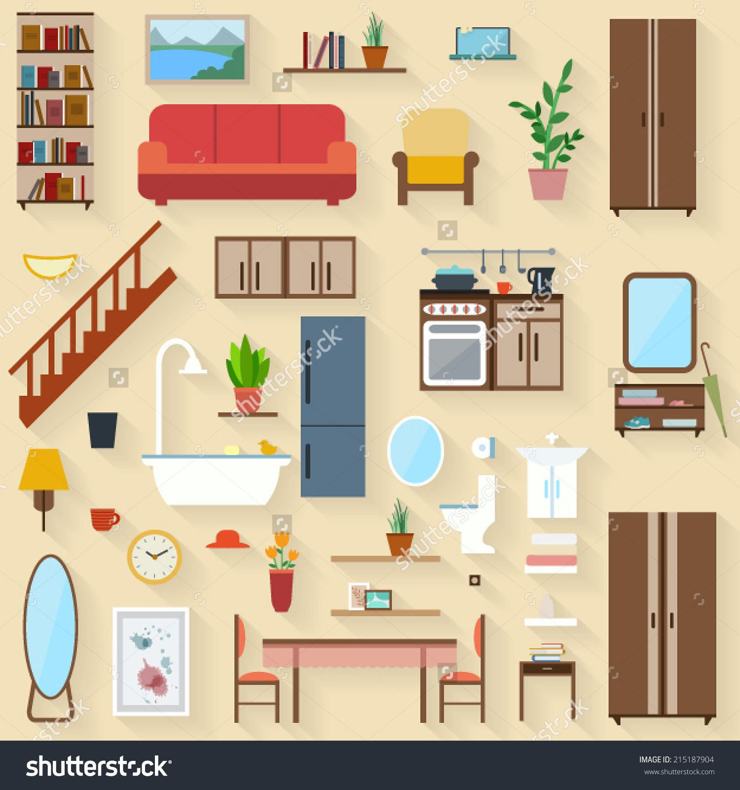 Furniture Set For Rooms Of House. Flat Style Vector Illustration   Buy This  Stock Vector On Shutterstock U0026 Find Other Images.