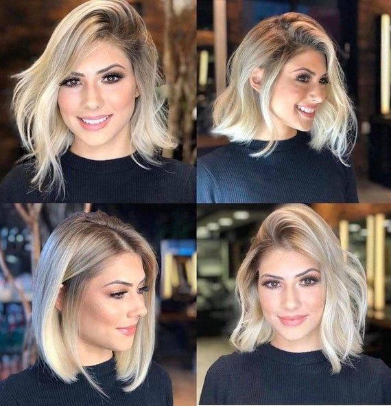 Blonde Bob Wig / Choppy Short Wig / Ombre Lace Fro