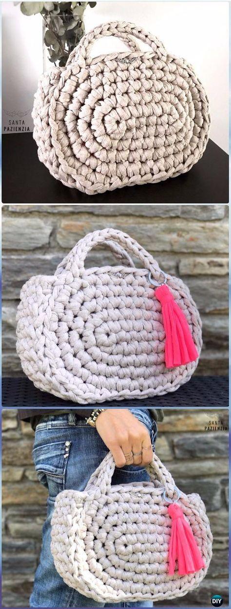 Crochet Midi Trapillo Handbag Free Pattern - Crochet Handbag Free Patterns