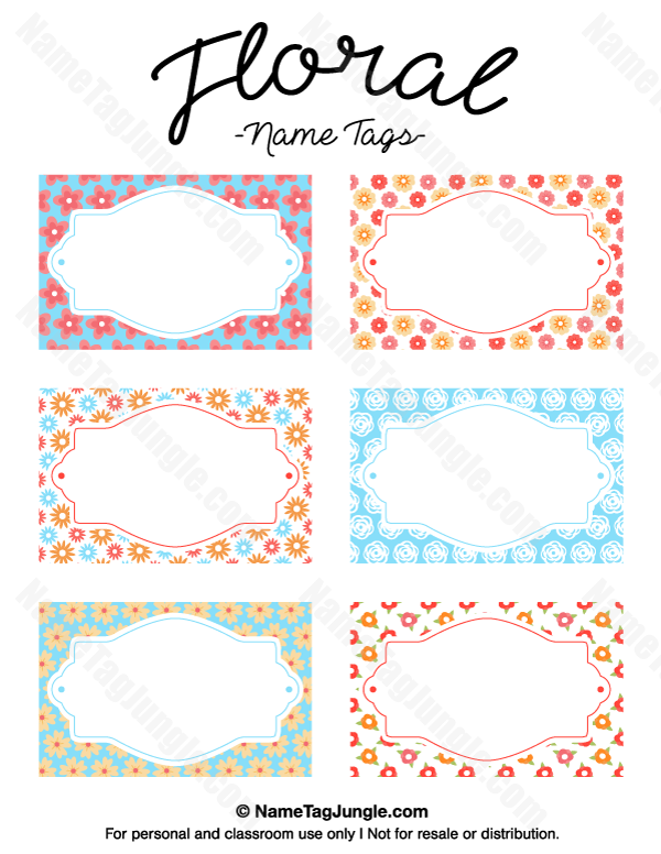 Free Printable Floral Name Tags The Template Can Also Be Used For Creating Items Like Labels And Plac Printable Tags Template Tag Templates Name Tag Templates