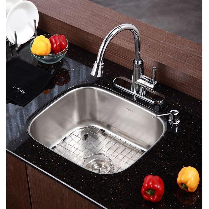 Kraus Kbu11 Stainless Steel 20 Inch Undermount Single Bowl 16 Gauge Stainless Steel Kitchen Sink Stainless Single Bowl Kitchen Sink Sink Stainless Steel Sinks