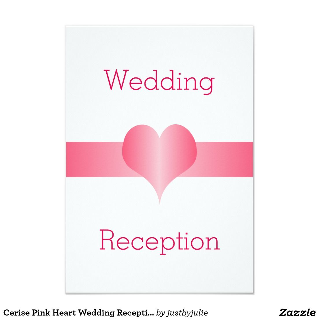 Cerise Pink Heart Wedding Reception Card | Cerise pink, Wedding ...