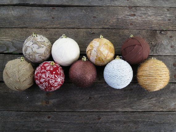 "Choose a custom set of  Wrapped 3 "" Christmas Ornaments - Burlap - Lace - Snowflake - Red - Cream - Vintage - Rustic - Glitter  Fabric Wrapped  Brown Twine..."
