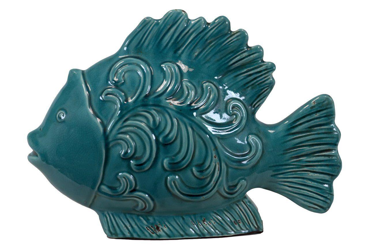 Urban Trends Collection UTC28055 Ceramic Fish Decor, Turquoise
