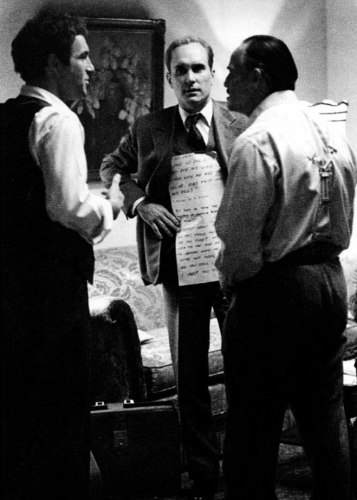 "James Caan, Robert Duvall and Marlon Brando on the set of The Godfather (1972). Brando used cue cards for many of his roles, including Superman (1978) and Apocalypse Now (1979), because he felt they helped increase his spontaneity. He said once: ""The audience doesn't know what I'm about to say so why should I."""