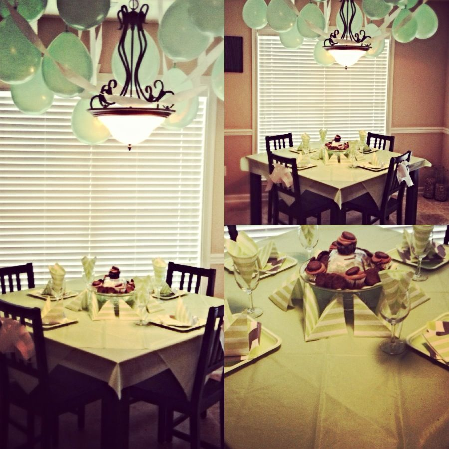 I decorated for my dad's birthday, chocolate/mint cupcakes ...and mint decor:)