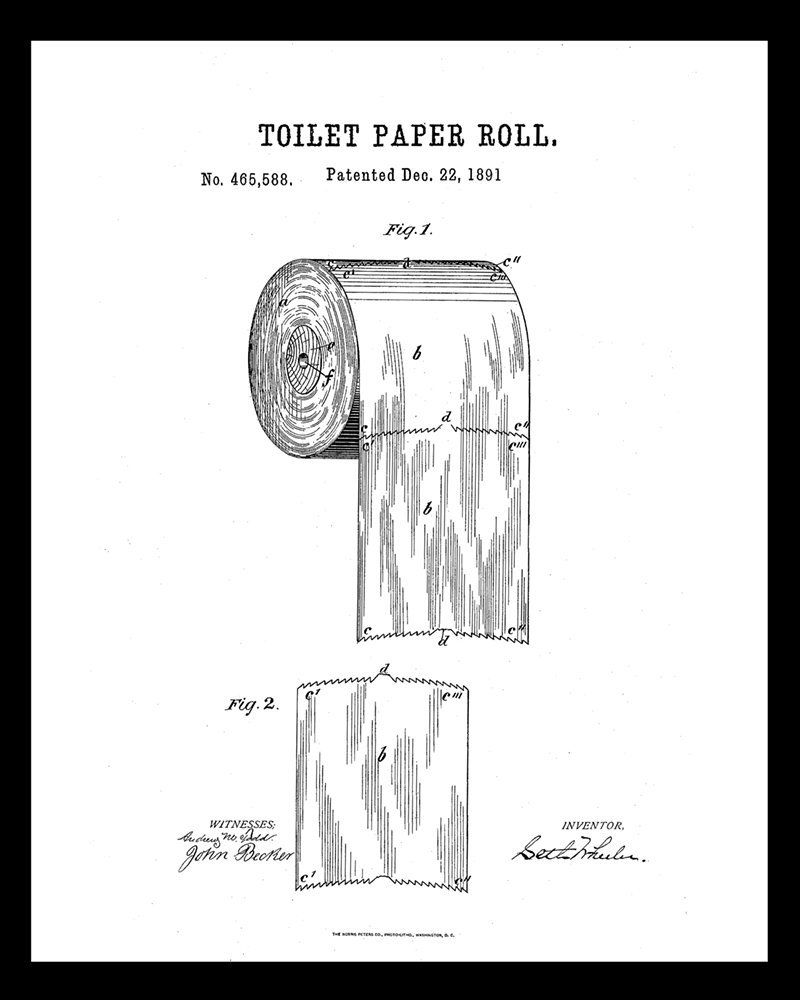 Toilet Paper Patent Drawing Guest Bathroom Art