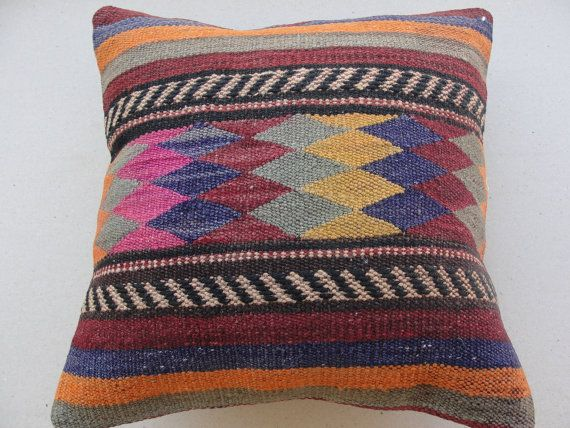 Kilim Pillow Cover Ethnic Pillow Decorative Throw by misterpillow, $46.00